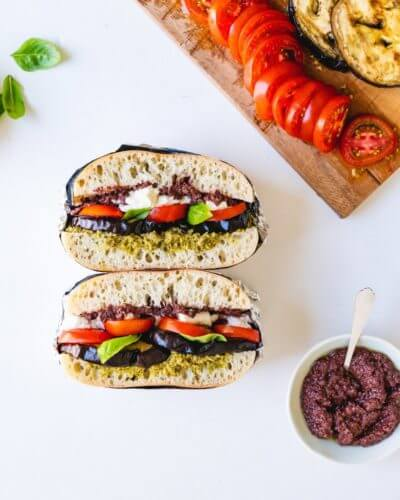 Grilled Eggplant & Tomato Stacked Sandwiches   A Couple Cooks