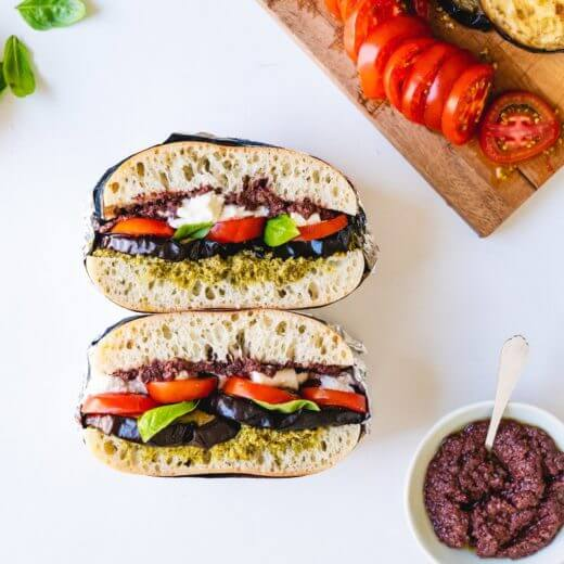 Grilled Eggplant & Tomato Stacked Sandwiches | A Couple Cooks