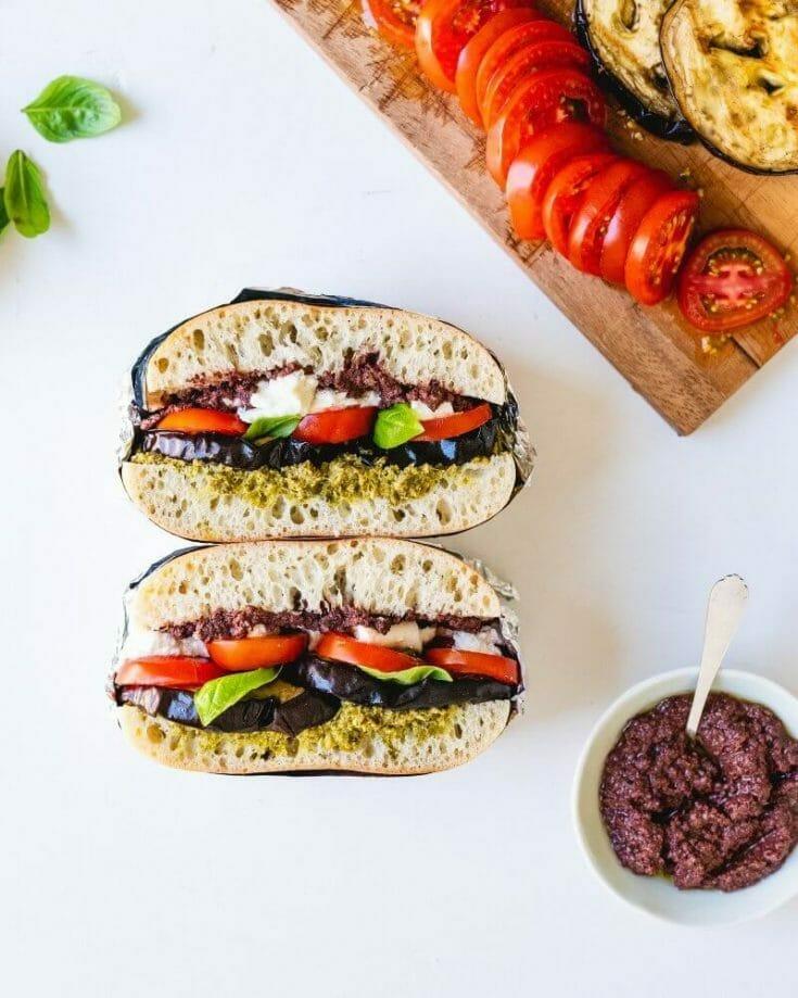 Eggplant Sandwich with Tomato & Pesto