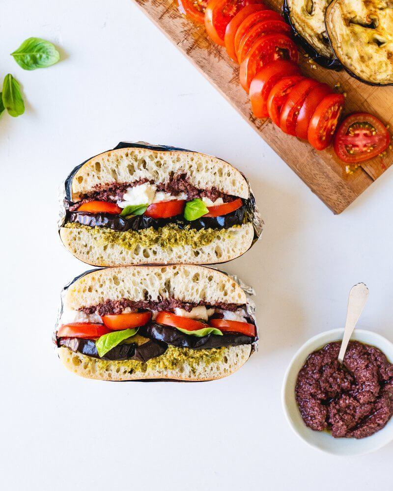 Tomato & Grilled Eggplant Stacked Sandwich | A Couple Cooks