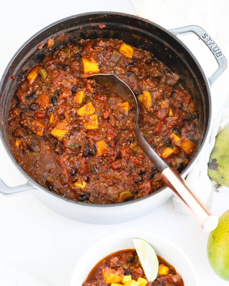 Mango black bean chili recipe   award winning chili recipe   vegetarian black bean chili recipe