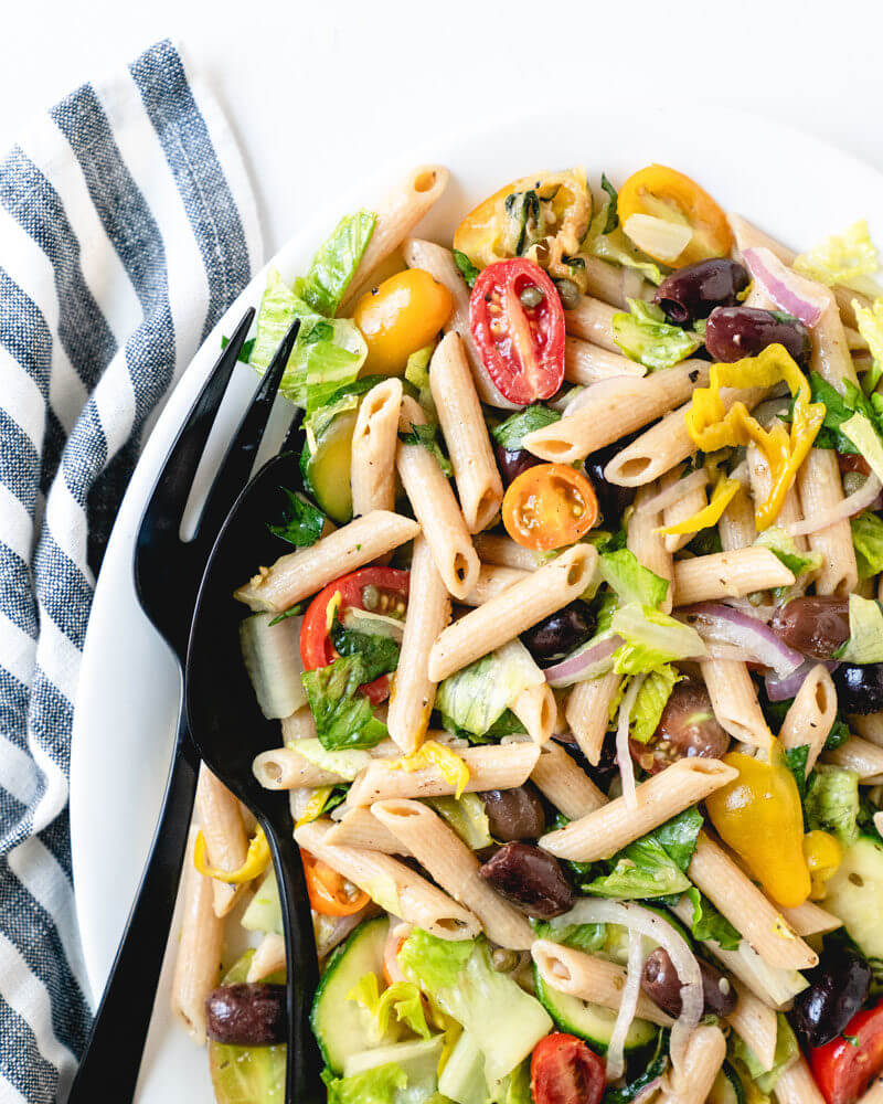 Vegan pasta salad | pasta with Kalamata olives and capers