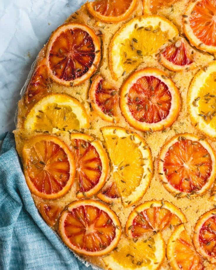 Upside Down Orange & Fennel Cake