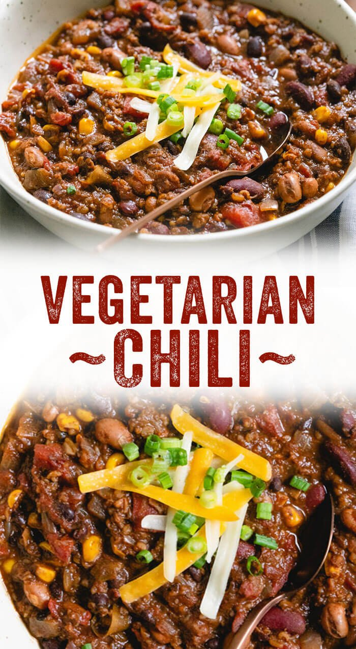 Easy Vegetarian Chili - you won't miss the meat with this crowd pleasing vegan chili recipe!