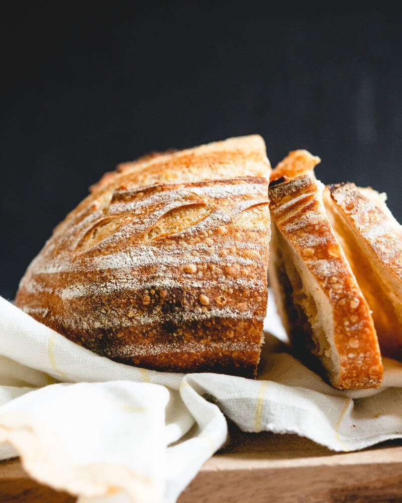 sliced sourdough bread with crispy crust
