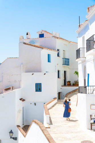 Spain travel | Frigiliana Spain | Woman in Spain | Blue dress