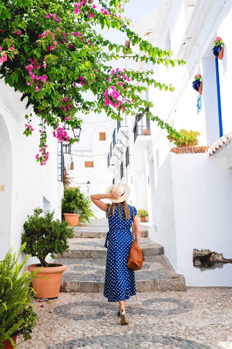 Spain travel | Frigiliana Spain | Woman in Spain | Blue dress