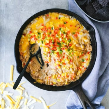 White chili cheese dip   mexican cheese dip   cast iron skillet recipes   white bean dip   easy finger food recipes for a crowd