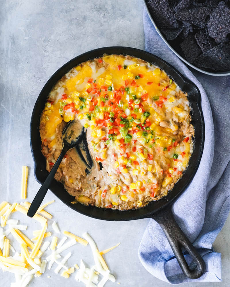Mexican Cheese Dip Recipe | cast iron skillet recipes | white bean dip | easy finger food recipes for a crowd