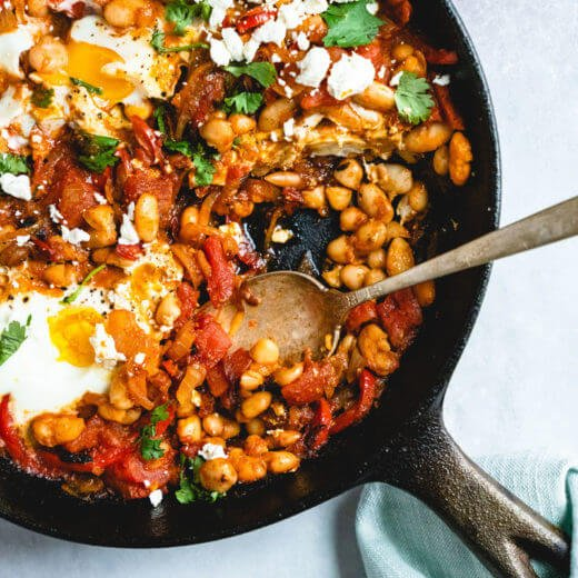 White bean shakshuka recipe | Shakshuka with feta | What is shakshuka