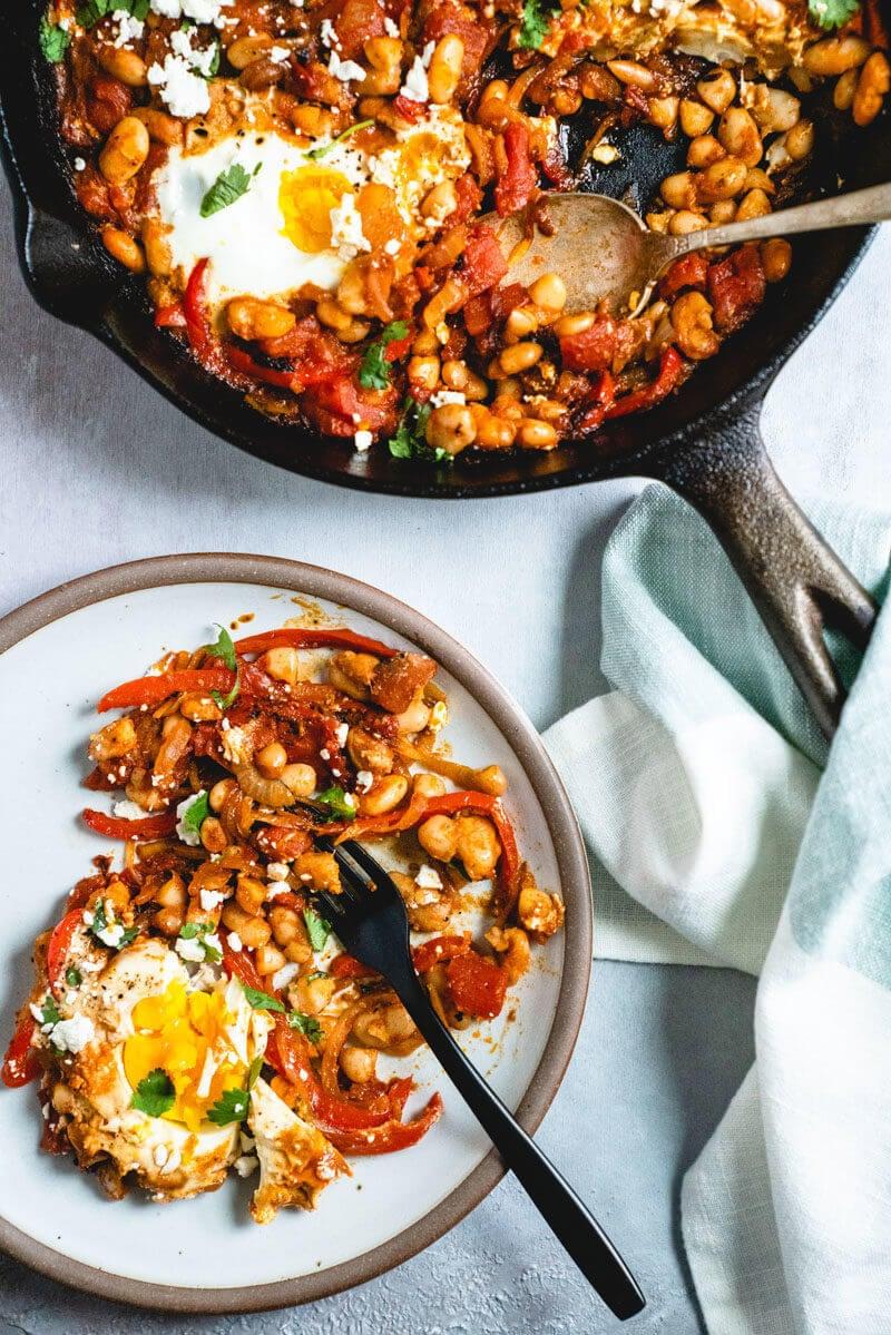 White bean shakshuka recipe | Shakshuka with feta | What is shakshuka