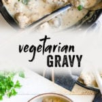 This easy vegetarian gravy recipe uses simple ingredients and comes together in just 15 minutes! Use it over meatballs or with biscuits and gravy. #vegetarian #gravy #meatless #dinner #healthy #mealprep #recipe #easy