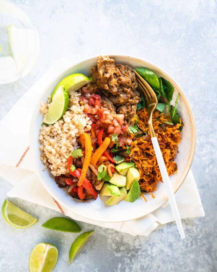 Vegetarian Burrito Bowl with Cauliflower Rice