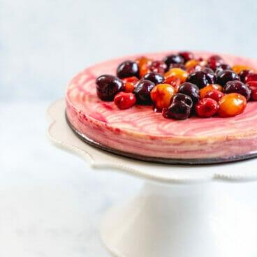Cherry Cheesecake | Greek yogurt cheesecake | Crustless cheesecake