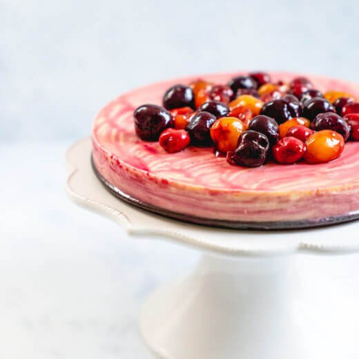 Cherry Cheesecake | Greek yogurt cheesecake | Crustless cheesecake