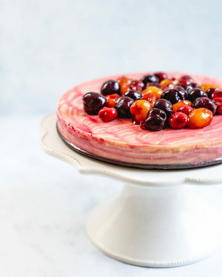 Crustless Cherry Cheesecake