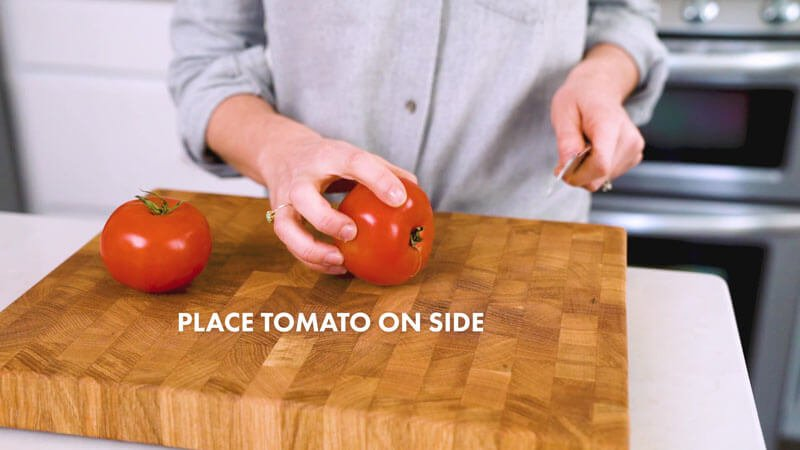 How to Cut a Tomato | Place the tomato on its side