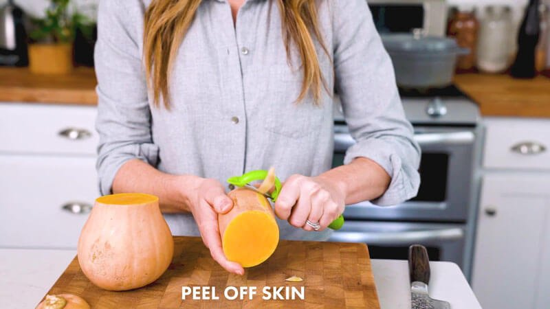 How to Cut Butternut Squash | Peel off the skin