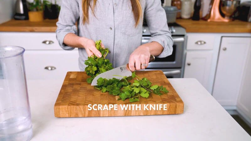 How to cut cilantro | Scrape with knife