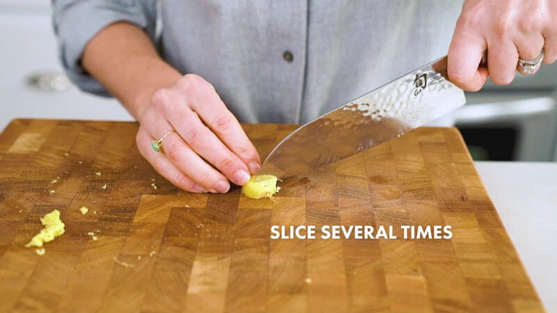 How to Cut Ginger | Slice several times