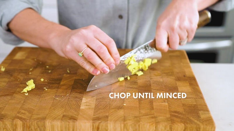How to Cut Ginger | Chop in other direction until minced