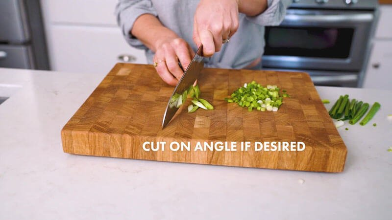 How to cut green onions (scallions) | Cut on an angle if desired