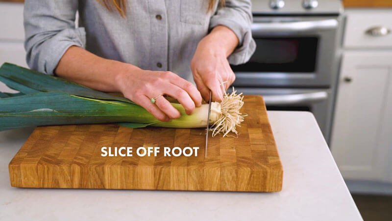 How to Cut Leeks | Slice off root