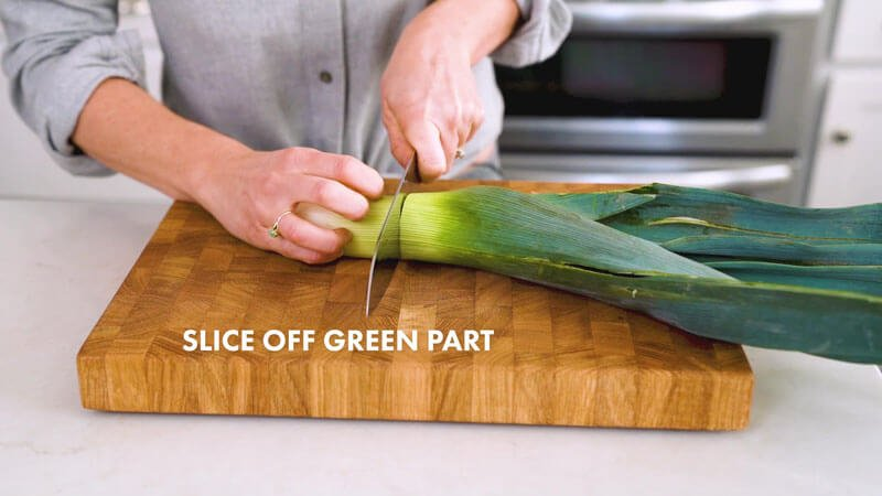 How to Cut Leeks | Slice off green top