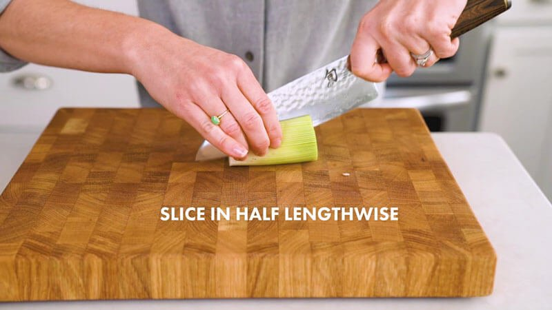 How to Cut Leeks | Slice in half lengthwise