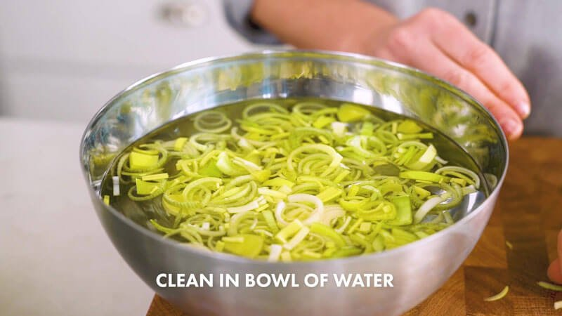 How to Cut Leeks | Place in bowl of water