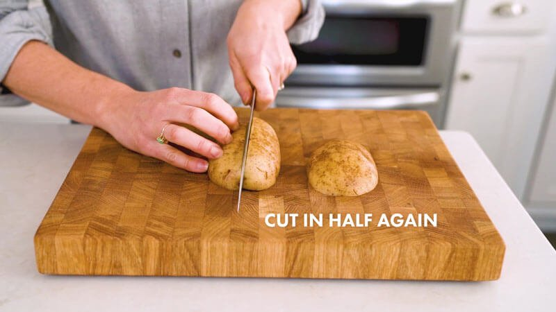 How to Cut Potato Wedges | Slice the potato in half again