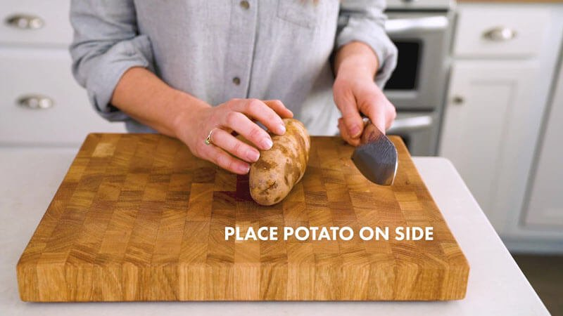 How to Cut Potatoes into Fries | Place potato on side