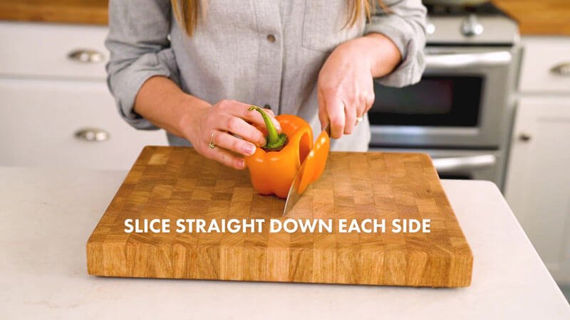 How to Cut a Bell Pepper | Slice straight down each side