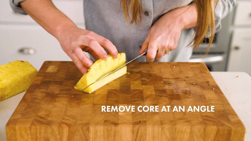 How to Cut a Pineapple | Remove core at an angle