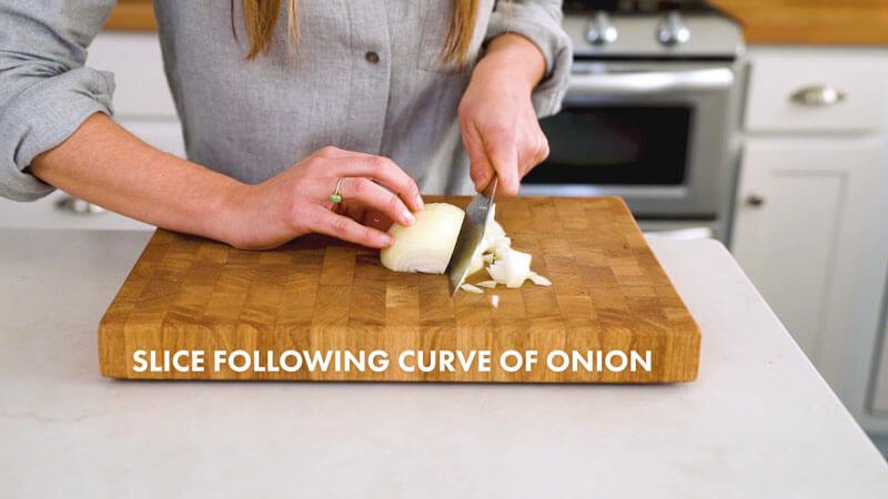 How to Cut an Onion | Slice following curve of onion
