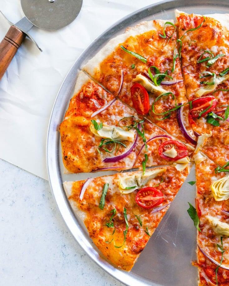 Artichoke and Cherry Tomato Pizza