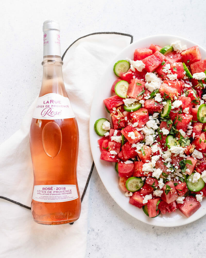 Watermelon salad and rose wine