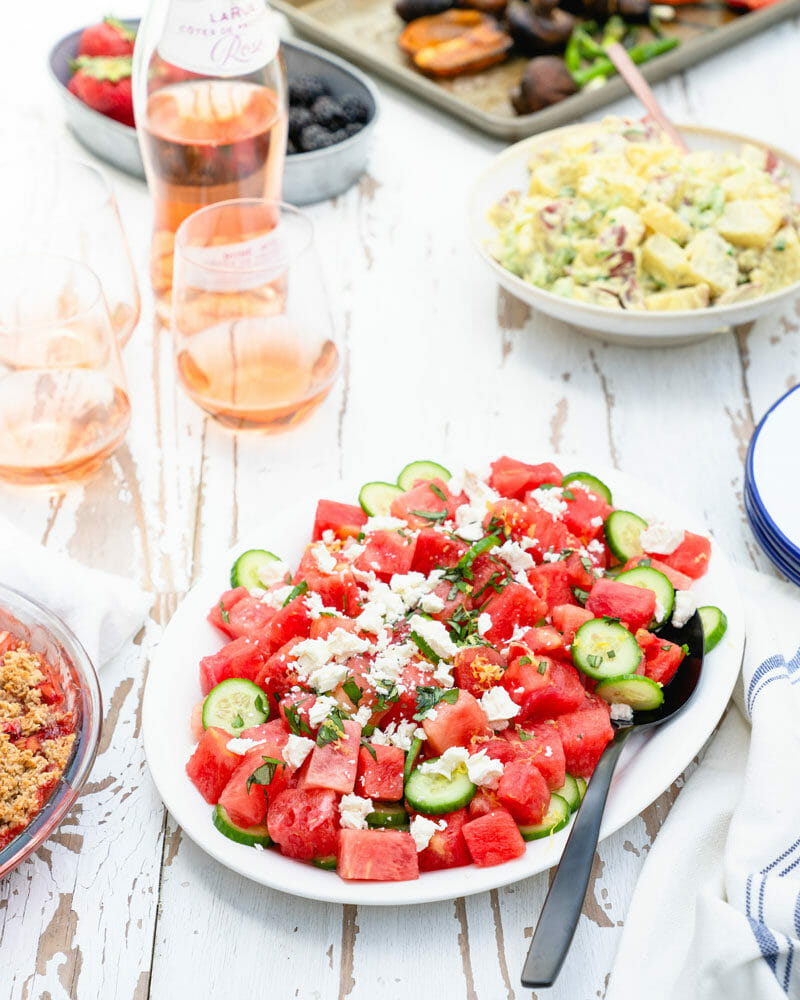 Watermelon salad with cucumber and feta