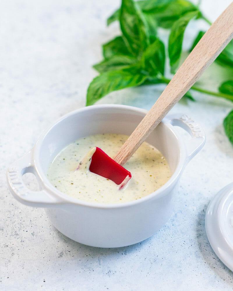 Healthy pesto salad dressing