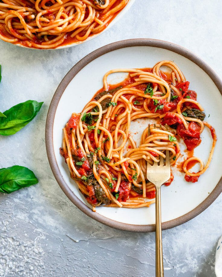 Quick Spaghetti with Basil