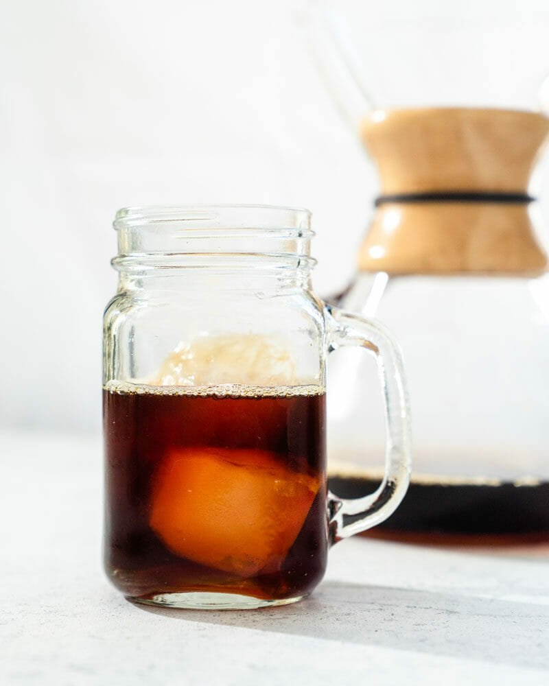 Pour over iced coffee in Chemex