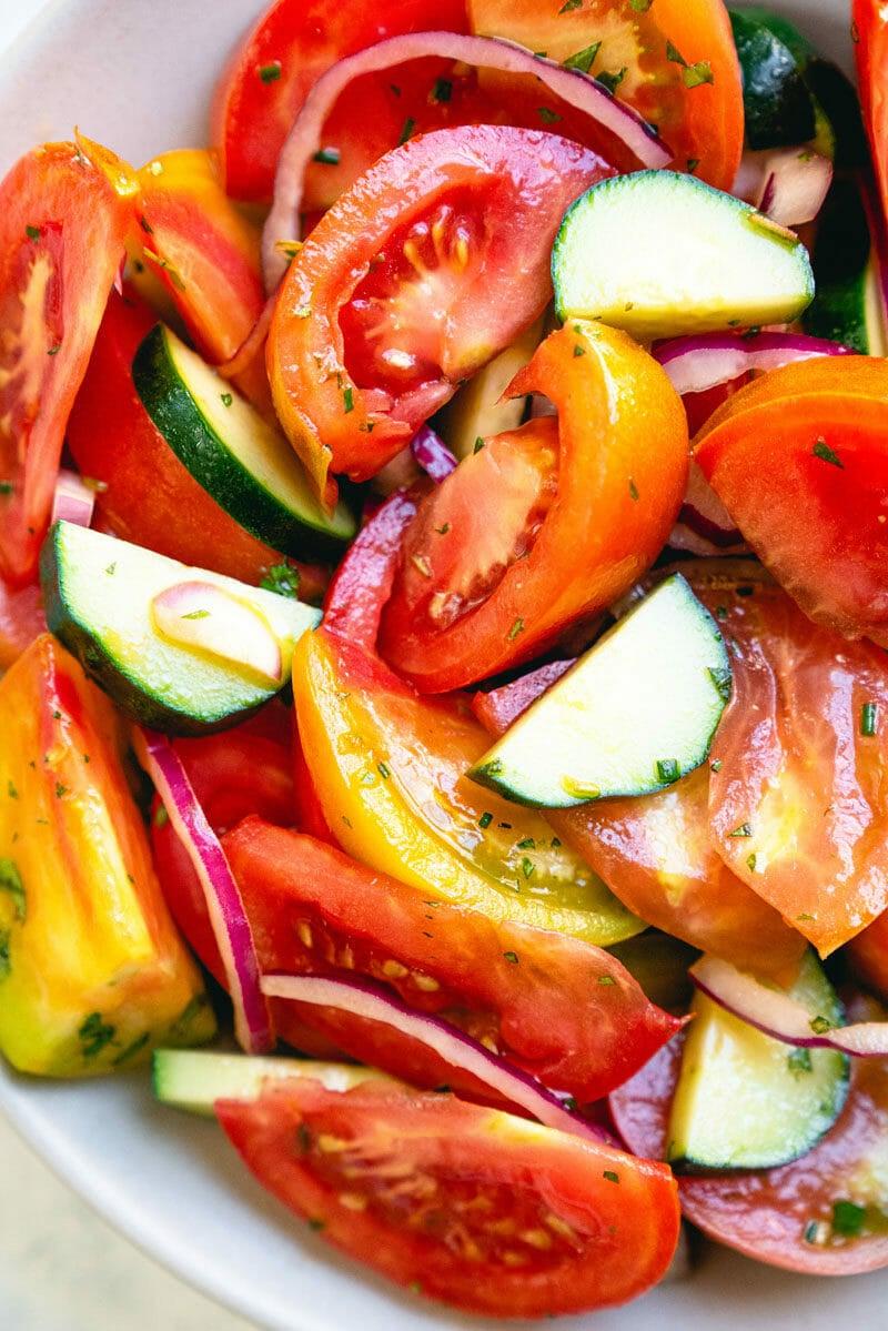 Cucumber tomato onion salad