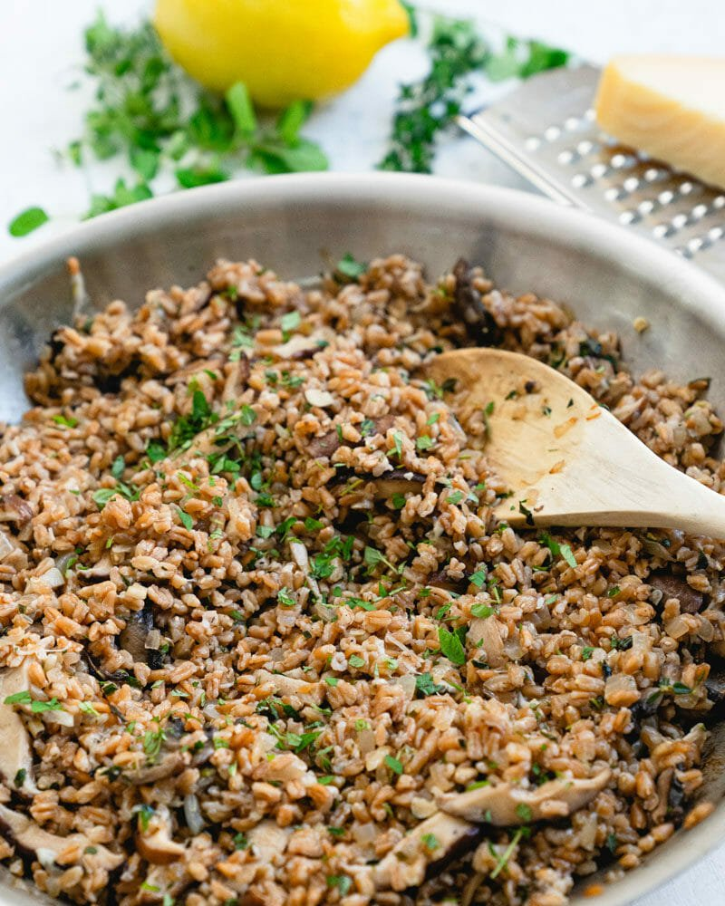 Pan of cooked farro