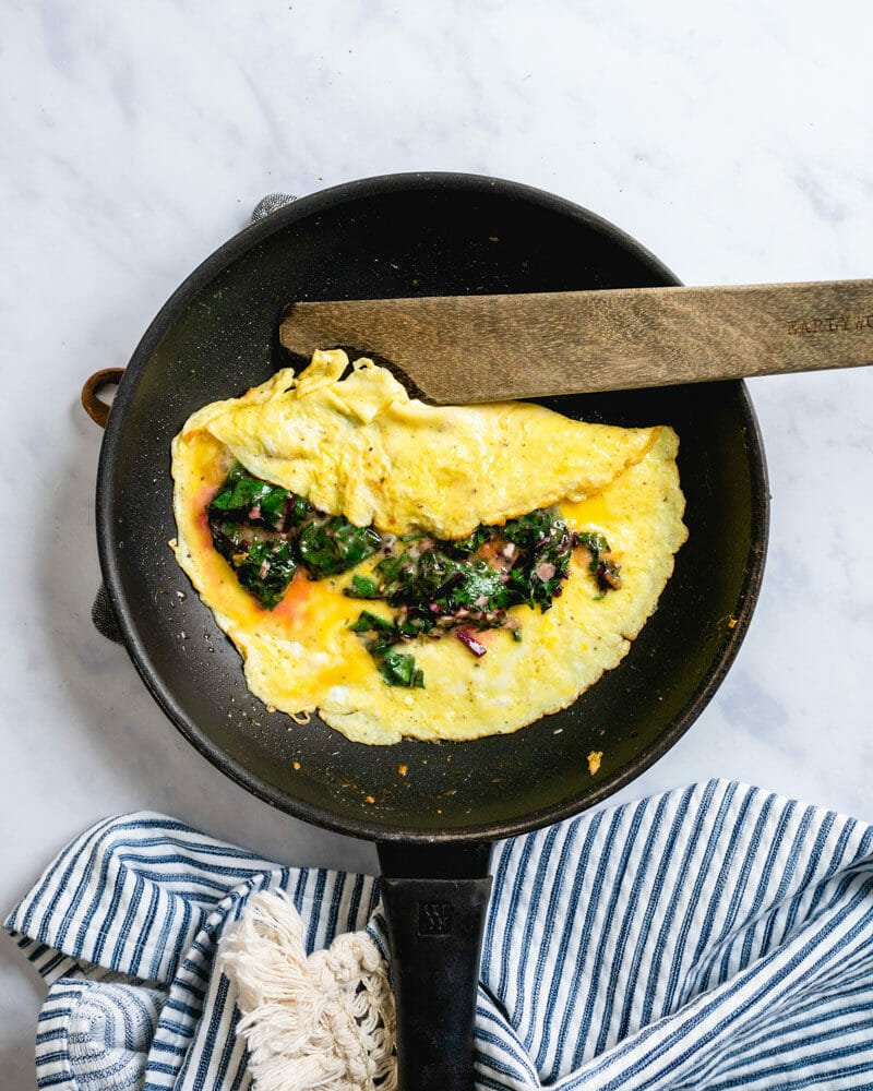 Beet greens omelette