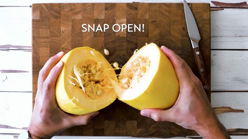 How to cut spaghetti squash: Snap it open