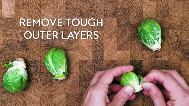 How to shred Brussels sprouts: Remove tough layers