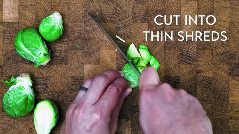 How to shred Brussels sprouts: Cut into thin shreds