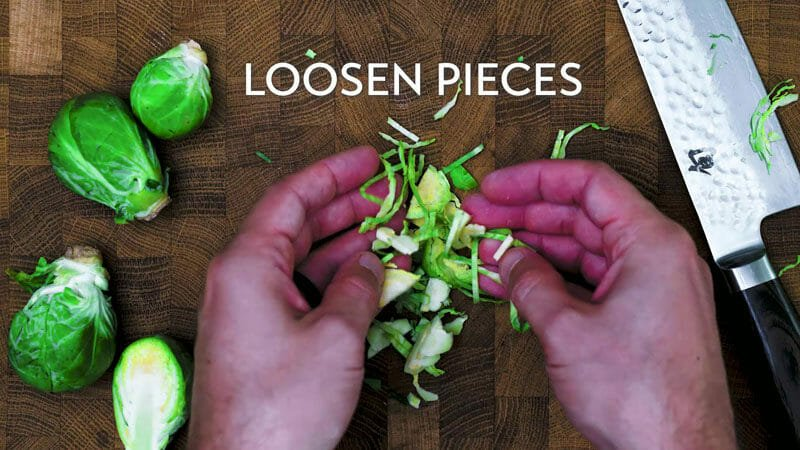 How to shred Brussels sprouts: loosen the pieces