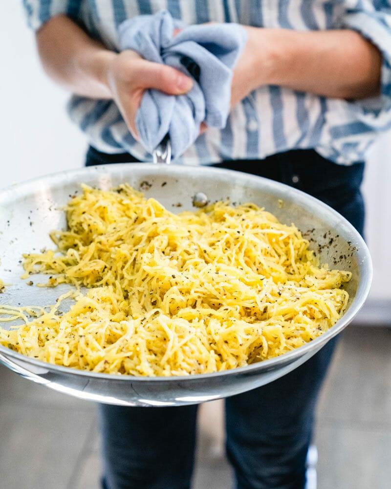 Spaghetti squash in pan