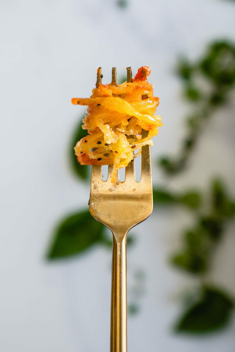 Spaghetti squash on fork